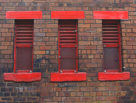 urban photography, red windows, industrial, art, contemporary, Sam Freek, urban decay, architecture,