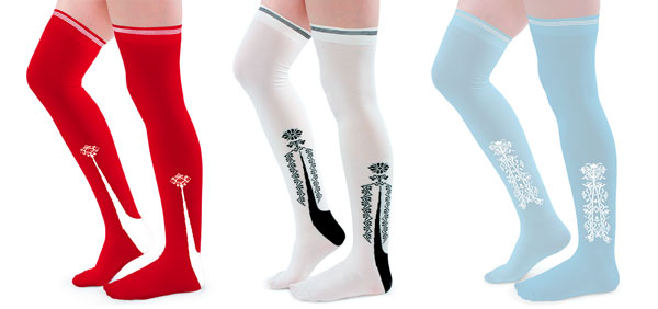 3 colors of american duchess clocked stockings