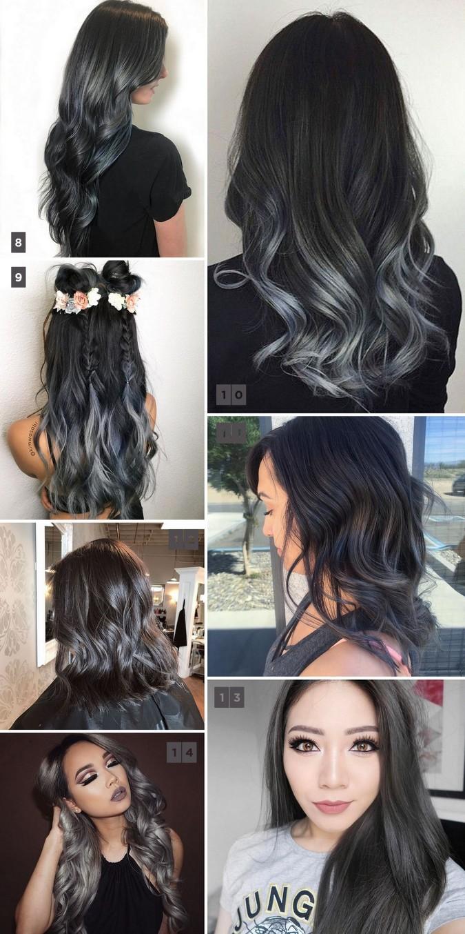 Charcoal hair trend: balayage, ombré, highlights. Tendência para o inverno 2017, o cabelo com cor de carvão, em tons de cinza é ótima opção para cabelos castanhos e pretos.