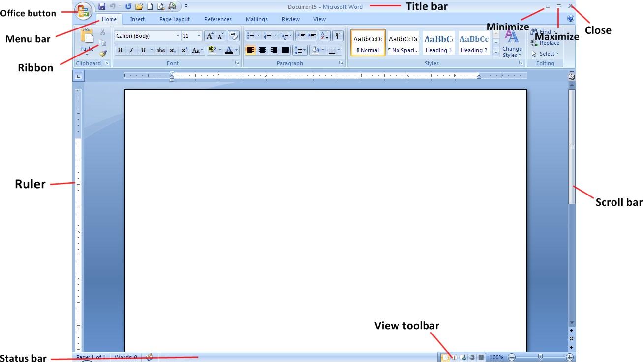 Bagian-Bagian Microsoft Word dan Tampilan Microsoft Word