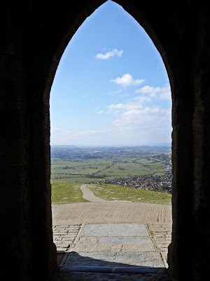 Looking through the door of St Michael's Tower Glastonbury Tor