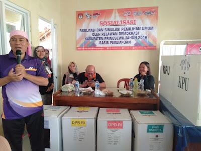 Basis Relawan Demokrasi Pringsewu Gelar Simulasi dan Fasilitasi Pemilu 2019