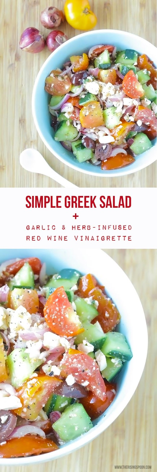 A healthy and refreshing Greek salad with chunky cucumber and tomato, sliced red onion, feta cheese, kalamata olives, and a garlic infused red wine vinaigrette dressing that only takes minutes to make.