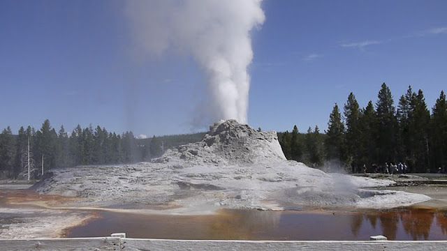 Yellowstone National Park was established by the United States Congress as a national park located primarily in the U.S. state of Wyoming, although extends into Montana and Idaho. Yellowstone was the first national park in the world and is known for its wildlife and its many geothermal features... There are Old Faithful Geysers - one of the most popular features in the park.Yellowstone National Park has many types of ecosystems, but the subalpine forest is dominant.Native Americans have lived in the Yellowstone region for appropximately 11000 years.Yellowstone National Park spans an area of approximately 3400 square miles (~9000 kilometers)...It's comprising lakes, canyons, rivers and mountain ranges.Yellowstone Lake is one of the largest high-altitude lakes in North America...Caldera is considered an active volcano. It has erupted with tremendous force several times in the last two million years.Half of the world's geothermal features are in Yellowstone.... mainly fueled by this ongoing volcanism.Lava flows and rocks from volcanic eruptions cover most of the land area of Yellowstone...The park is the centerpiece of the Greater Yellowstone Ecosystem...Hundreds of species of mammals, birds, fish and reptiles have been documented, including several that are either endangered or threatened.The vast forests and grasslands also include unique species of plants.Yellowstone Park is the largest and most famous megafauna location in the Continental United States. Grizzly Bears, wolves, and free-ranging herds of bison and elk live in the park. The Yellowstone Park Bison Herd is the oldest and largest public bison herd in the United States. Forest fires occur in the park each year... in the large forest fires of 1988, nearly one third of the park burnt. Yellowstone has numerous recreational opportunities, including hiking, camping, boating, fishing and sightseeing. Paved roads provide close access to the major geothermal areas as well as some of the lakes and waterfalls. During the winter, visitors often access the park by way of guided tours that use either snow coaches or snowmobile.