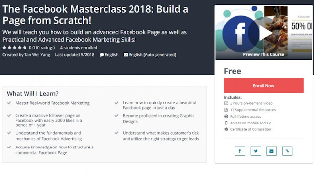 [100% Free] The Facebook Masterclass 2018: Build a Page from Scratch!