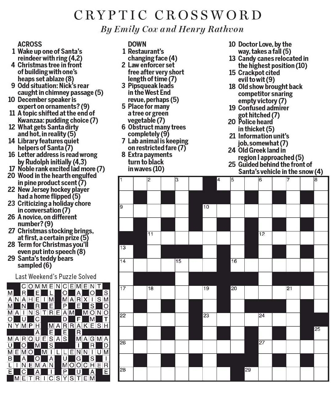 National Post Cryptic Crossword Forum Saturday December 23 2017 Happy Holidays