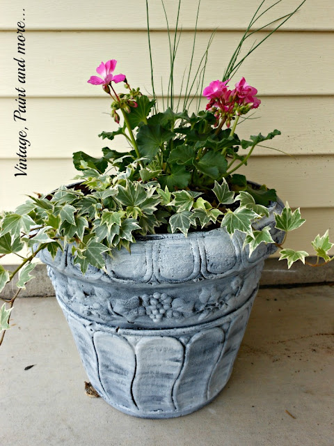 Vintage Paint and more... composite flower pots turned into French country pots with black chalkboard paint and whitewashed with white paint