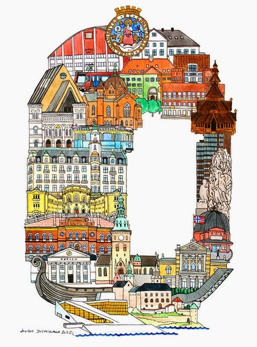 15-O-Oslo-Norway-Hugo-Yoshikawa-Illustrated-Architectural-Alphabet-City-Typography-www-designstack-co