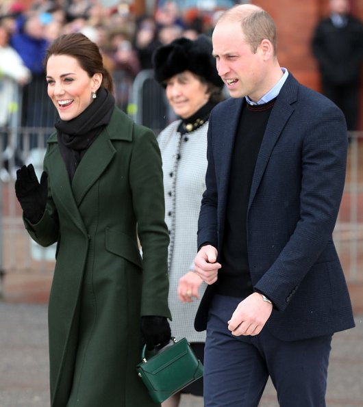 Kate Middleton wore Michael Kors dress, Sportsmax coat, Kiki McDonough earrings
