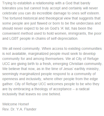 City of Refuge UCC (San Francisco) welcome statement from website