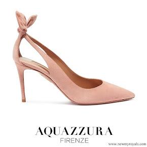 Meghan Markle wore Aquazzura 'Deneuve' bow cutout suede pumps