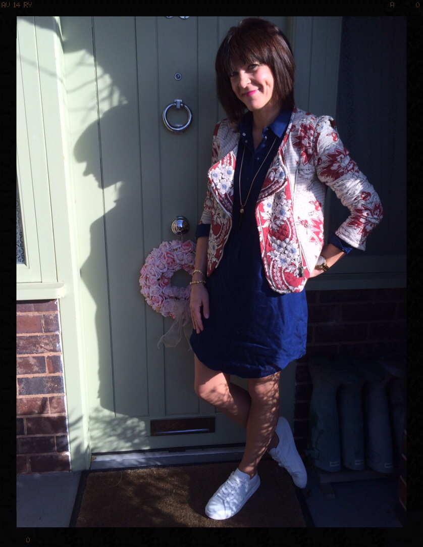 My Midlife Fashion, Quilted Jacket, Zara, Mango, Denim dress, shirt dress, trainers, wallis, ashiana jewellery
