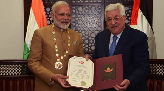 Ramallah, Palestine, prime minister, narendra Modi, Grant collar, PM Modi in Palestine, president Mahmoud Abbas, India and Palestine