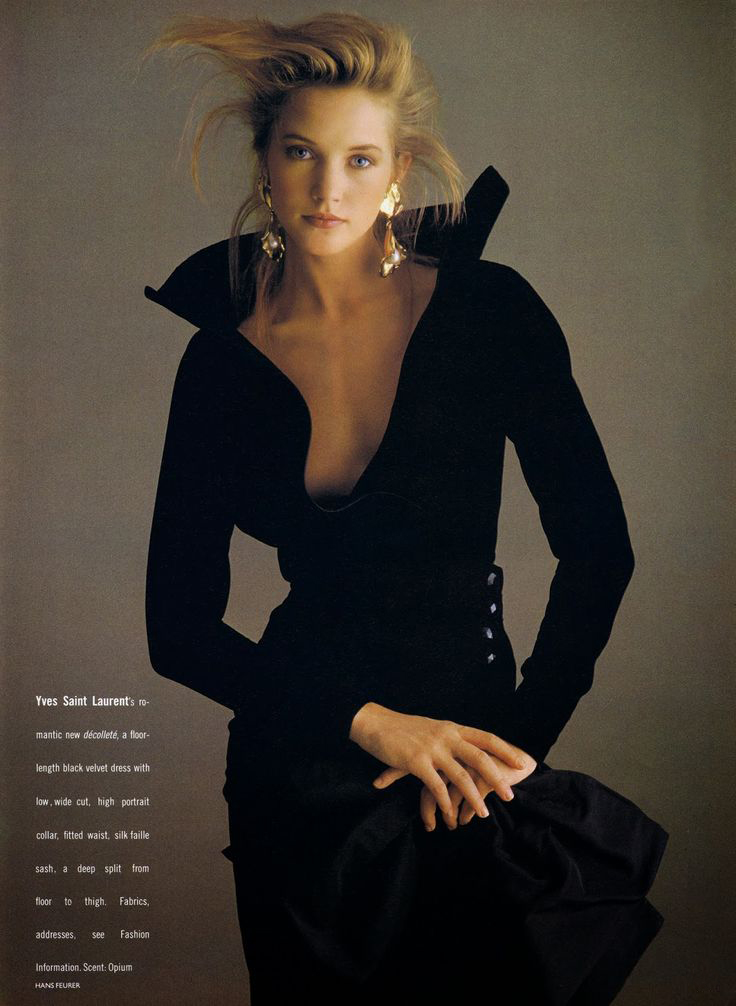 Cecilia Chancellor wearing Yves Saint Laurent in Vogue UK October 1988 (photography: Hans Feurer) via www.fashionedbylove.co.uk
