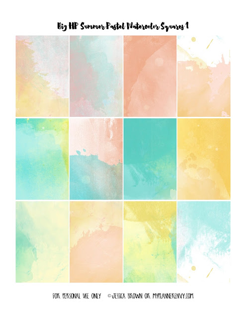 Free Printable Summer Pastel Watercolor Weekly Squares Page 1 for the Big Happy Planner on myplannerenvy.com