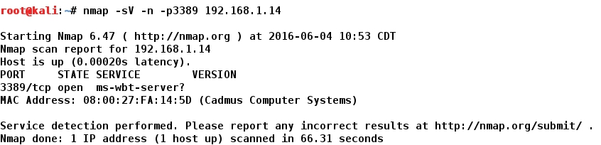 Whitelist: METASPLOIT - Windows 7 - Remote Desktop Protocol: Denial