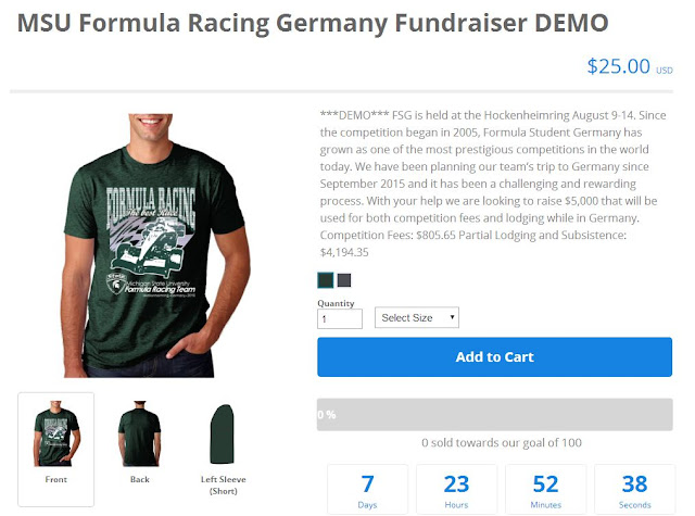 Click to See Example of T-Shirt Fundraiser Sales Page