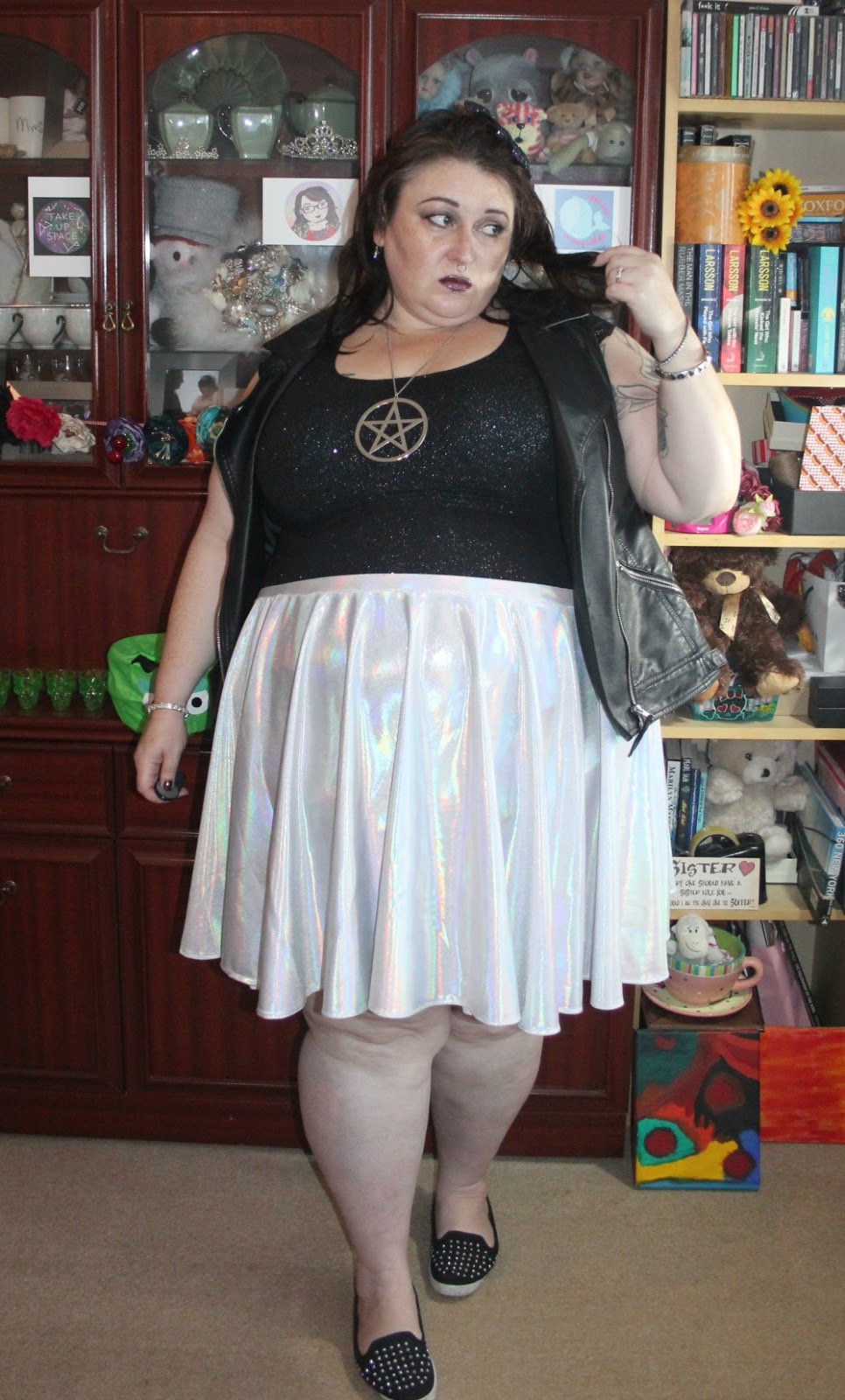 PLUS SIZE ALTERNATIVE HOLOGRAPHIC SKIRT