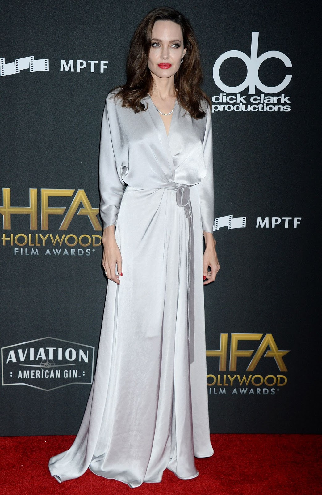 Angelina in a wrap dress by Jenny Packham
