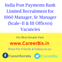 India Post Payments Bank Limited Recruitment for 1060 Manager, Sr Manager (Scale-II & III Officers) Vacancies