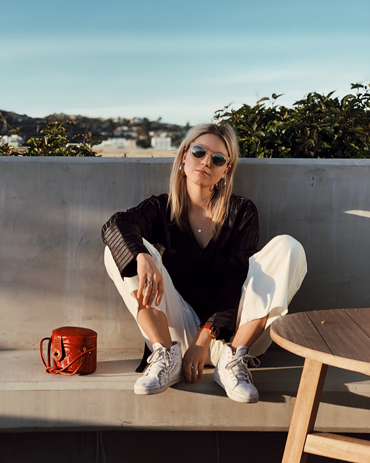 heleneisfor, Wilfred Aritzia pants and blouse, Vans girls high tops, Warby Parker Dorothy sunglasses
