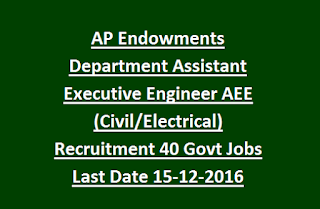 AP Endowments Department Assistant Executive Engineer AEE (Civil, Electrical) Recruitment 40 Govt Jobs Last Date 15-12-2016