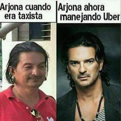 Meme de Humor : Taxi vs Uber (Ricardo Arjona)