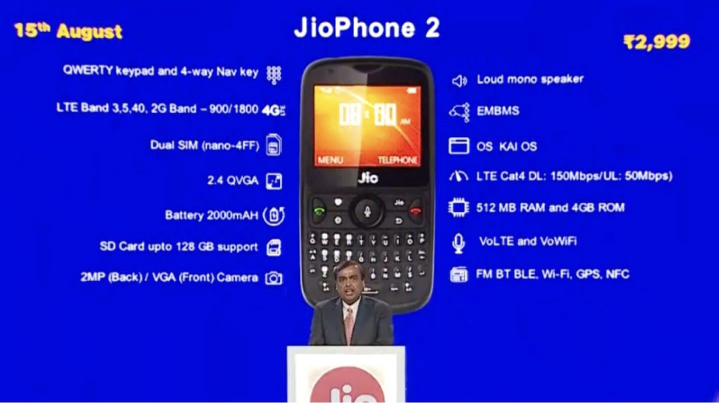 JioPhone 2 priced at Rs 2,999 : specifications,features and