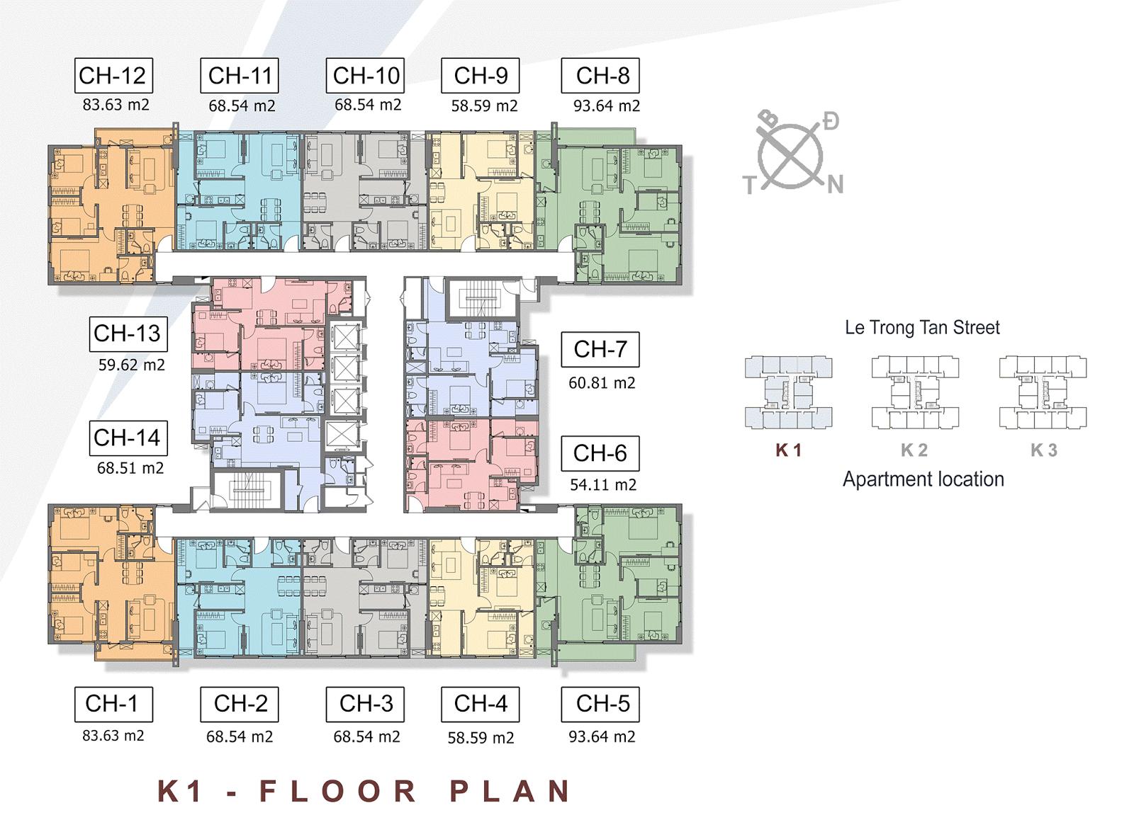 Mặt bằng điển hình tòa K1 dự án The K Park Văn Phú Hà Đông