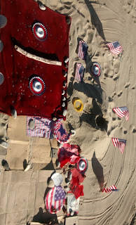 santa barbara, american flag, state beach