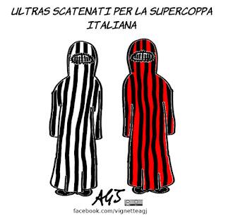 ultras, supercoppa italiana, arbia saudita, donne, stadio, sport, calcio, burqua, umorismo, vignetta, satira