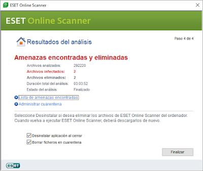 Resultado análisis con Eset Scanner Online