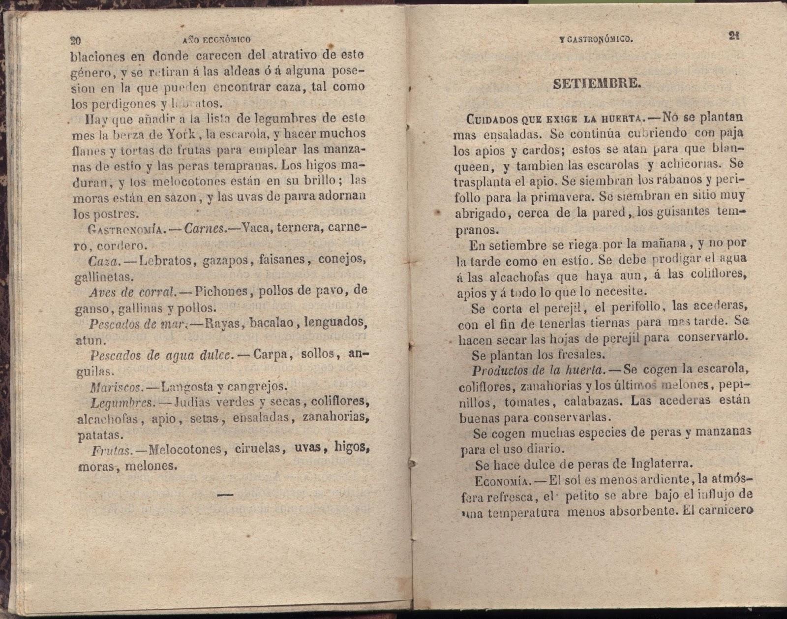 Agosto de 1866, mes gastronomico