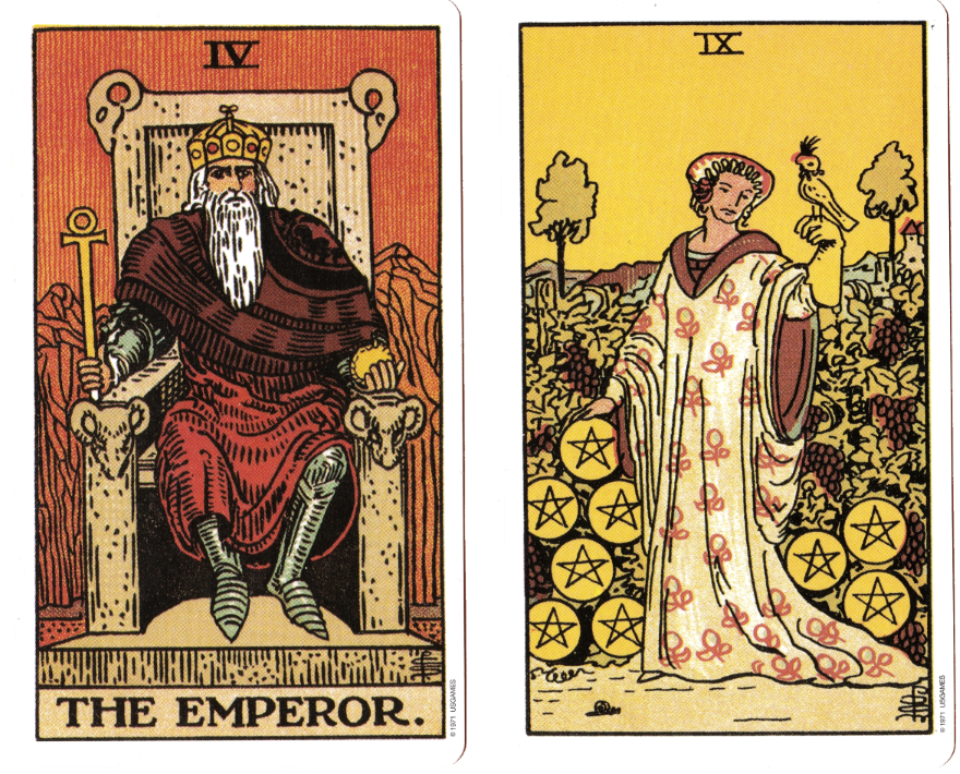 Greylady's Hearth: The Emperor and the Nine of Pentacles