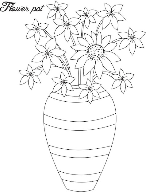 Flower Vase Coloring Page Flower Pot Coloring Page