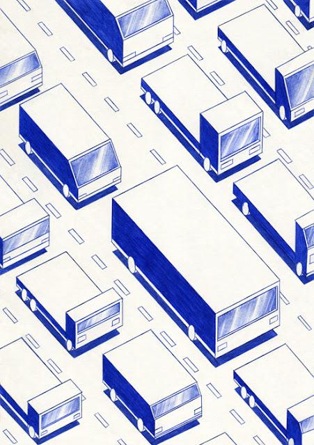 """Traffic"" por Kevin Lucbert | dibujos geometricos artisticos, imagenes chidas, cool art drawings"