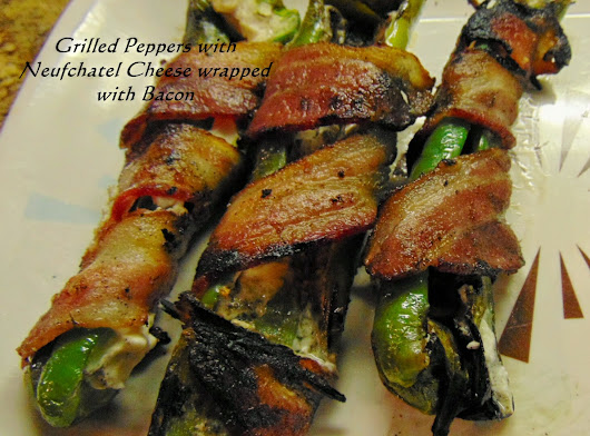 Pablano Peppers Grilled with Cream or Neufchatel Cheese and Bacon
