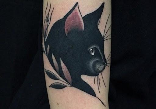 Muito Gato Preto Tatuagem