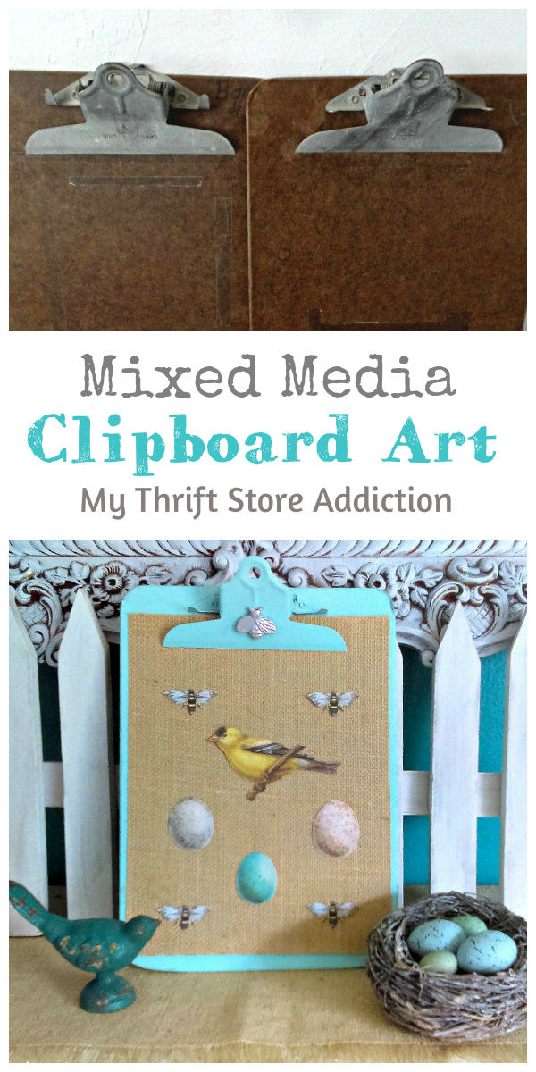 The 15 Minute Fix: Mixed Media Clipboard Art mythriftstoreaddiction.blogspot.com Mixed media clipboard art created with paint, burlap and scrapbook ephemera