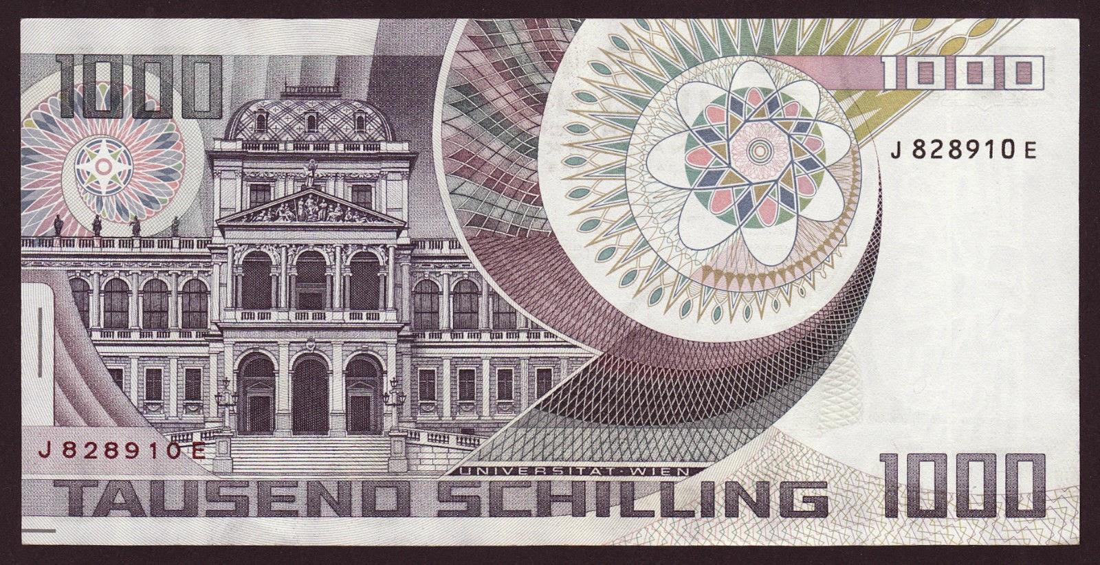 Austria Money Currency 1000 Schilling banknote 1983 University of Vienna