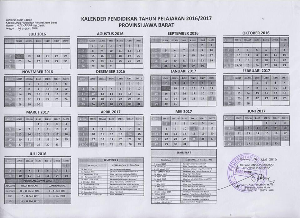 KALENDER PENDIDIKAN TAHUN PELAJARAN 2016/2017 PROVINSI JAWA BARAT ...