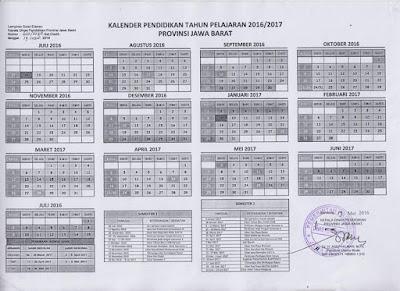 KALENDER PENDIDIKAN TAHUN PELAJARAN 2016/2017 PROVINSI JAWA BARAT
