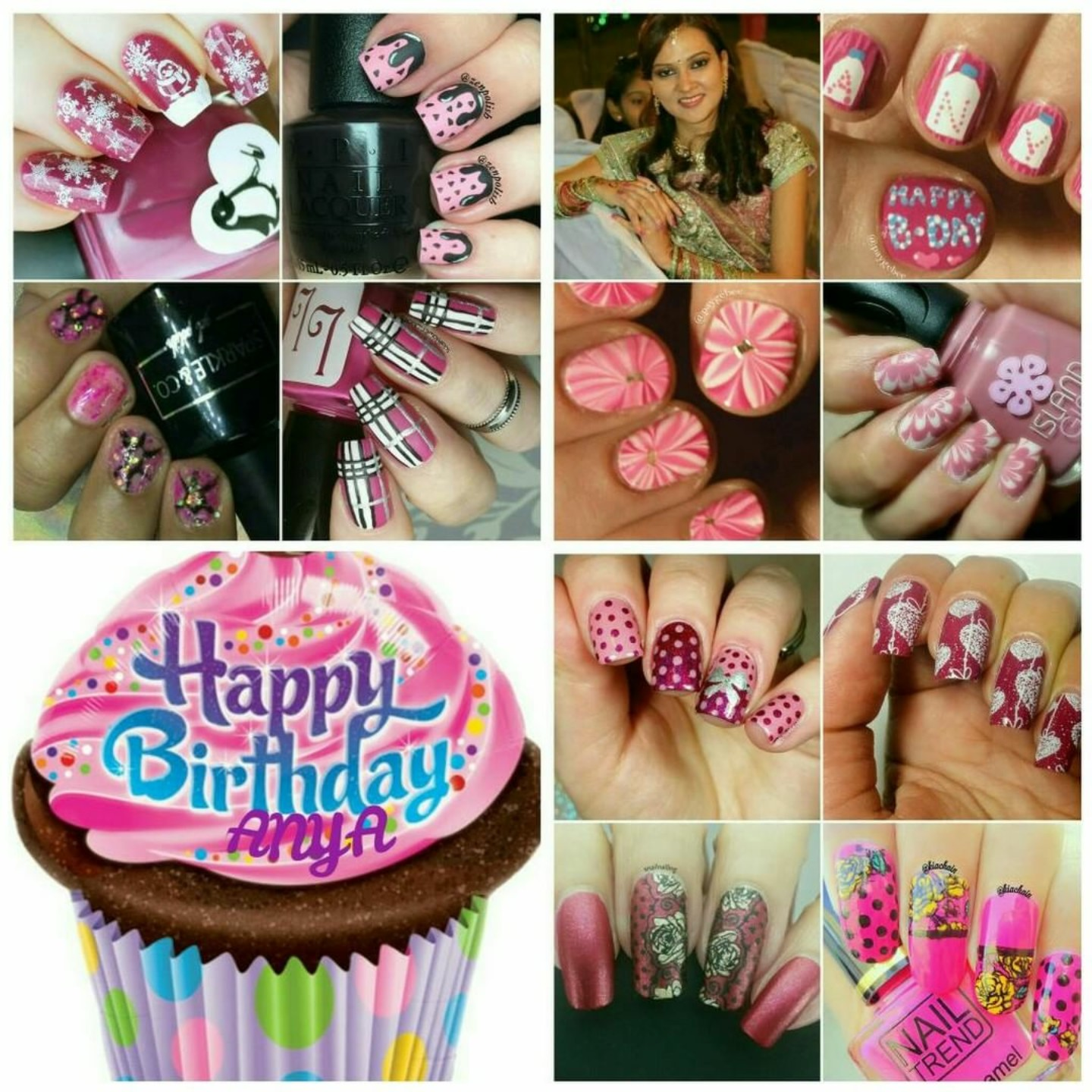 Anya Birthday Nail Art Collage by Wallflower_nails