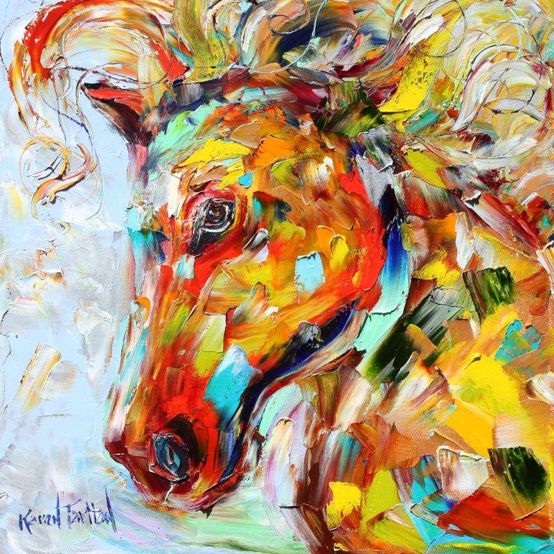 Colorful Art: Karen Tarlton: Original Oil Painting Colorful Portrait Of