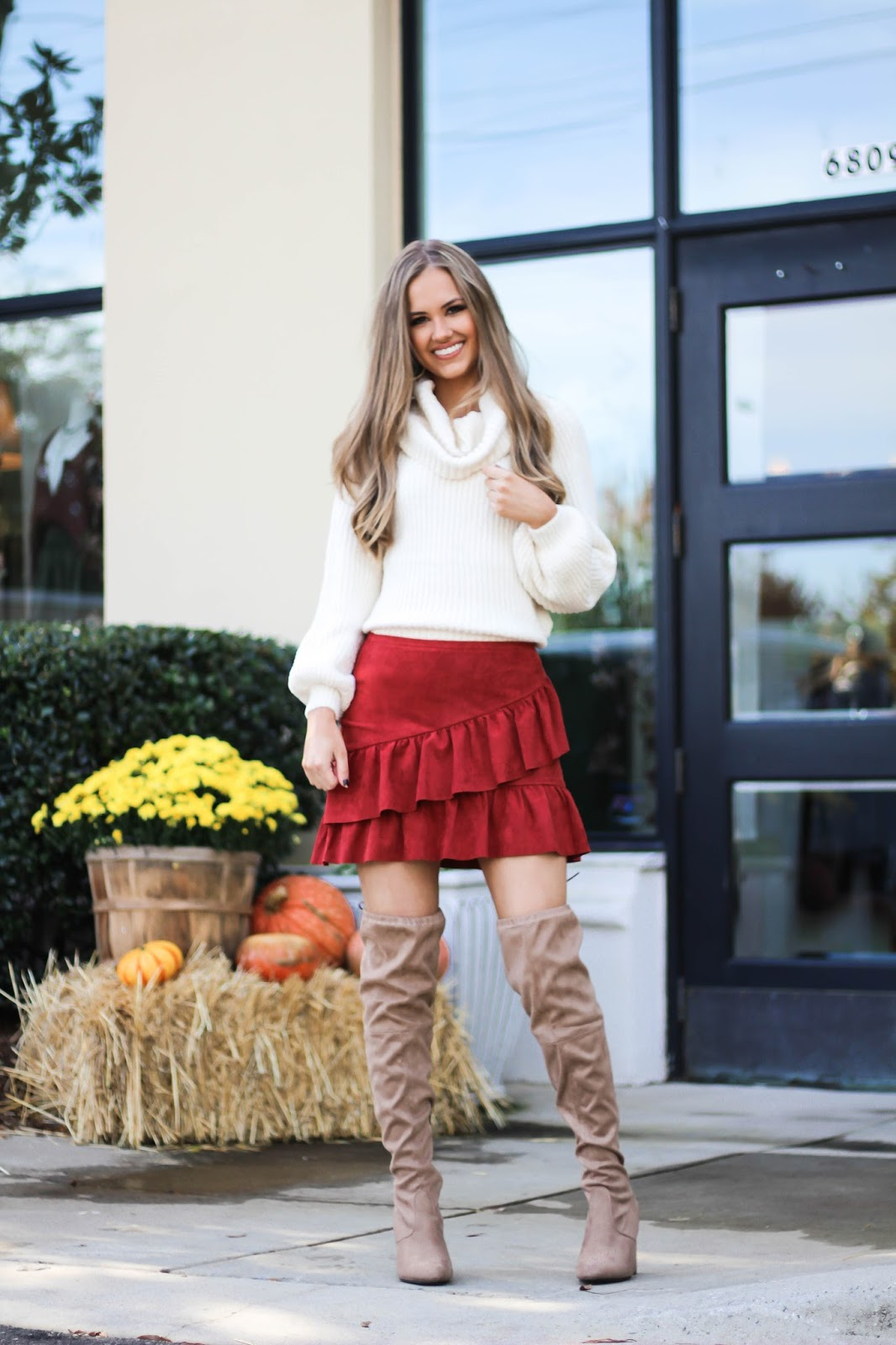 Mini Skirt And Over The Knee Boots