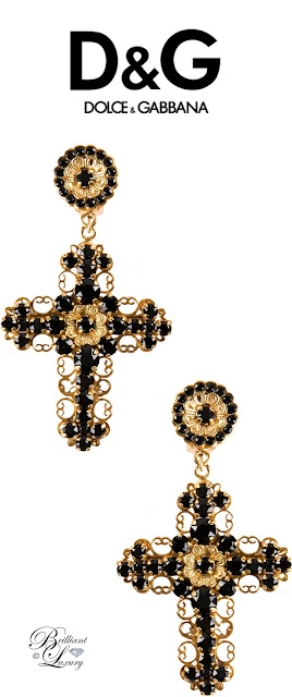 Brilliant Luxury ♦ Dolce & Gabbana Cross Black Swarovski Clip-On Earrings