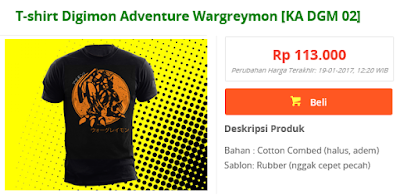 T-shirt anime digimon adventure, Wargreymon