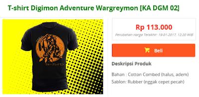 T-shirt anime digimon adventure, Wargreymon