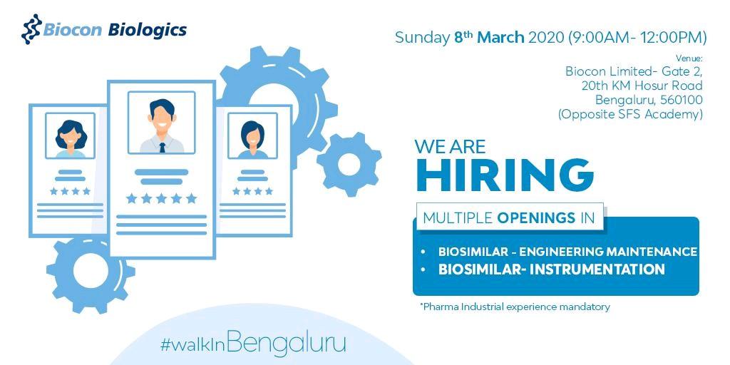 Biocon Biologics - Walk in interview for Engineering Maintenance, Instrumentation on 8th March 2020
