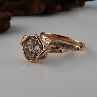 Yellow Gold, White Gold, Rose Gold, Diamond Slice Wedding Set, Leaf Engagement Ring, Scattered Diamond Wedding band, Leaf and twig Bridal Set